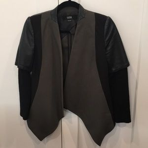 Unusual blazer w/ partial leather sleeve